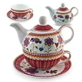 Gilde Porzellan Tee Set Blumenwiese Tea for one Blumen Teeservice
