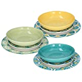 Tognana Servizio completo di Piatti 18 PEZZI Set per 6 persone Amalfi multicolor porcellana