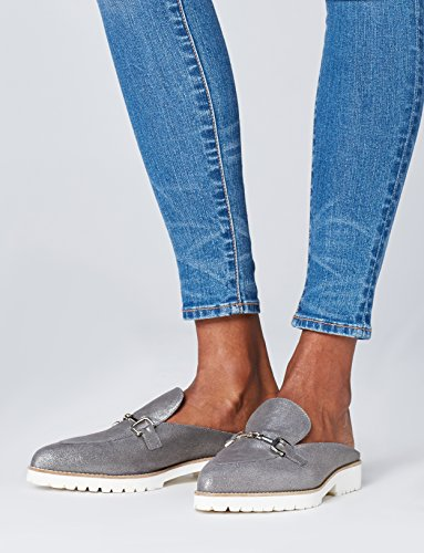 FIND Damen Jean Backless Loafer Silber (Blue)