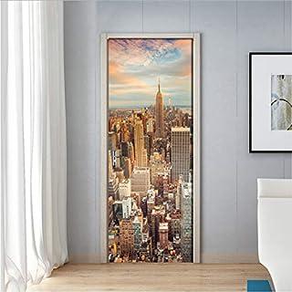 YS753 City Dusk Architectural Landscape 3D PVC Self-Adhesive Waterproof Door Sticker Decals Living Room Bedroom Home Decor Wallpaper 77X200Cm