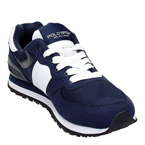 POLO RALPH LAUREN PONY Slaton NEWPORT chaussures de la marine homme baskets en cuir Bleu
