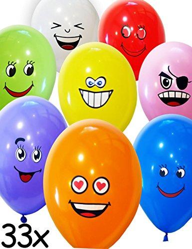 HomeTools.eu® - 33 Stück Smiley Luft-Ballons | lustige freche Emoji Gesichter aufblasbar 30cm | Deko Party Fasching Kinder-Geburtstag | bunt 33er Pack