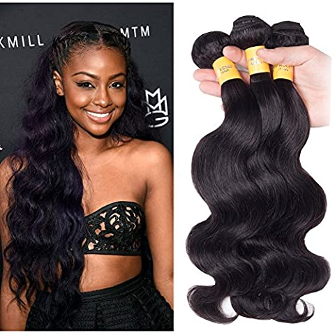 Richair 100% Human Hair 3Bundles Tissage Indien Ondule Couleur #1B 14 16 16 Pouces(35 40 40cm) Tissage Double Cousua La Machine 300g