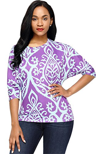 SZIVYSHI Boden Ärmel Batwing Dolman Sleeve Damask Barock Ethnisch Stammes Afrikanisch Aztekisch Blouse Bluse Hemd T-Shirt Oberteil Top Violett M (Top Sleeve Boho Dolman)