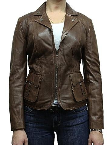 Brandslock pour femme féminine Veste Blazer en cuir marron (3XL/18, MARRON)