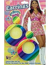 Adult Women's Groovy 60's Retro Fancy Dress Party Accessory Mod Earrings Rainbow