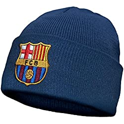 FC Barcelona - Gorro básico oficial de punto - Con el escudo del club - Azul