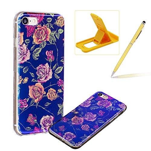 per iPhone 7 4.7 Custodia case,Herzzer Mode Crystal Creativo Elegante lusso di Blu Glitter Bling stampato Quadro Dipinto Design shell,Ultra slim sottile morbido TPU Silicone Gel flessibile Protettivo Oro rose Rosa