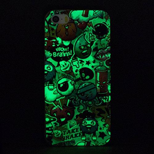 iPhone 5C Hülle, Vandot Schutzhülle für iPhone 5C Case Silikon Muster Malerei TPU Cover Leuchtend Luminous Noctilucent Abdeckung Handytasche Löwenzahn Schmetterling Blumen Pattern Gummi Dünnen Weich N Color 1