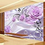 LONGYUCHEN Benutzerdefinierte 3D Seide Wandbild Tapete Pflanze Muster Floral Lila Rose Geeignet Für Schlafzimmer Wohnzimmer Tv Hintergrund Wand Dekoration Wandbild,260Cm(H)×460Cm(W)