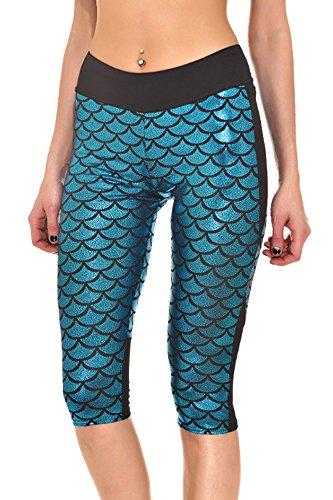 BOZEVON Leggings aderenti da donna in stile funky con motivo a squame di pesce colore metallizzato Blu 2
