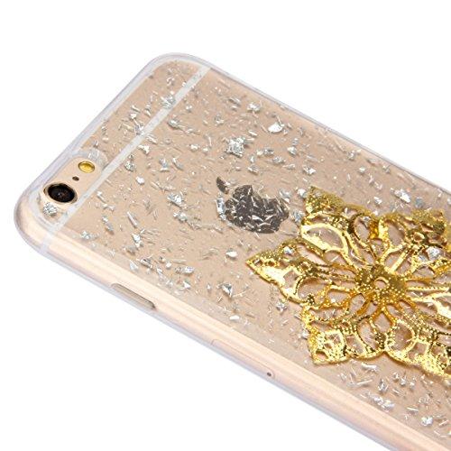 SainCat Coque Apple iphone 6 Plus/6s Plus,Housse Retour Hard Case Silicone Transparent Bumper Skin Shell,Brilliant Effect de Protection Pare-Chocs Complete Protecteurs,iPhone 6 Plus Transparente Clair paillettes argent,fleur d'or#1