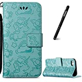 Slynmax Coque iPhone 8 Coque iPhone 7 Cheval Vert de Licorne Housse en PU Cuir Flip Magnétique Portefeuille Etui Housse de Protection Coque Étui Case Cover avec Support avec des Cartes de Crédit Slot