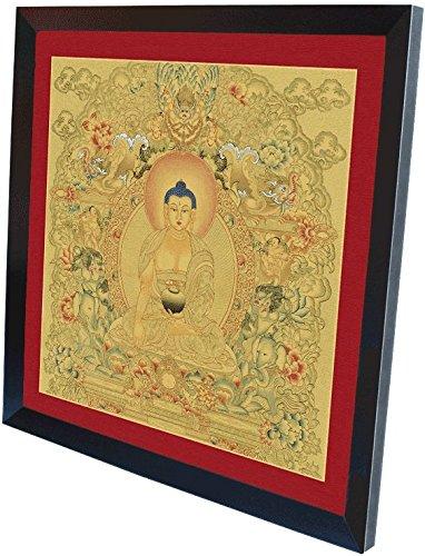 Thangka Goldgrundthangka Buddha Shakyamuni Druck Leinwandbild mit schönen schwarzen Holzrahmen 40x40 cm