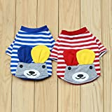 Phenovo Imported Pet Puppy Small Striped Dog Cat Vest T-Shirt Summer Apparel Clothes XS-XL - red, S