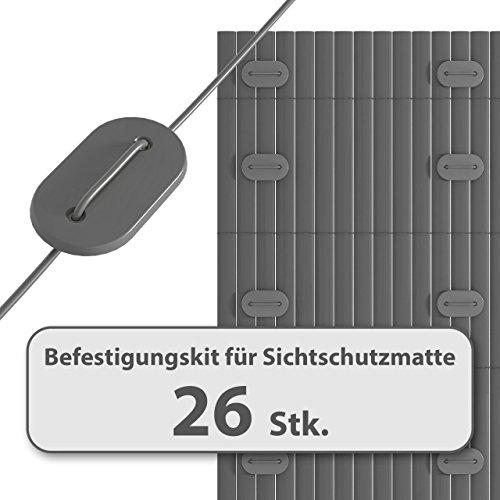 Homelux Befestigungskit für Sichtschutzmatte Windschutz Balkonverkleidung Farbe: GRAU