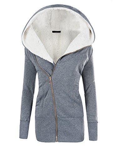 Dive Kapuzen-jacke (N489 Damen Jacke Mantel Winterjacke Kapuze Gefüttert Sweatjacke, Farben:Grau;Größen:L)