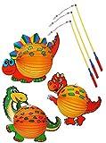 6 TLG. Set: 3 Stück: Papier Laternen / Lampion + 3 Laternenstäbe - Dinosaurier Dino - Papierlaterne für Kinder - Laternen Lampions - für Laternenumzug - Mädchen Jungen / Bunte Dinos