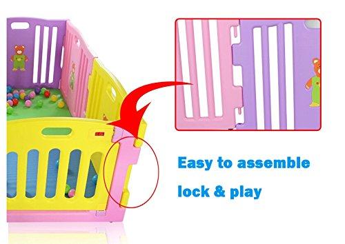 MCC Rosa Plástico bebé parque para bebé con Actividad panel 8 Caras