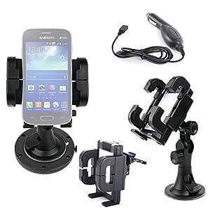 """Fixation 3 en 1 support voiture rotatif pour Samsung Galaxy Ace 4 et LTE (SM-G313F) Smartphone écran 4"""" - grille d'aération, pare-brise & tableau de bord - Chargeur allume-cigare BONUS"""