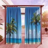 Türvorhang Hawaiian Dekorationen Kollektion Windy Exotische Insel mit tropischen Bäumen Calm Beach Thema Ocean Fotografie Druck Rauschunterdrückung Grün Blau, Polyester, Color01, 72'x84'(183cmx214cm)