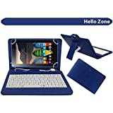 "Hello Zone Exclusive 7"" Inch USB Keyboard Tablet Case Cover Book Cover for Swipe Ace Strike 4g  Blue"
