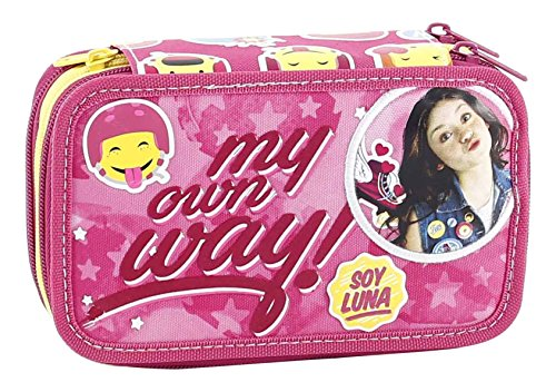 Soy luna astuccio triplo con colori, pennarelli ed accessori scuola, poliestere, roma, 20 cm