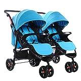 2019 Splittable Twins Kinderwagen Sitzen Liegen Falten Zweisitz Kinderwagen Doppelsitz Baby Infant Buggy,Blue