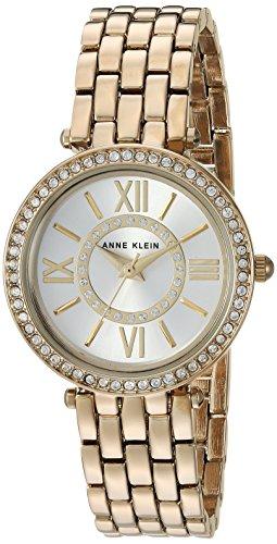 Anne Klein Women's AK/2966SVGB Swarovski Crystal Accented Gold-Tone Bracelet Watch