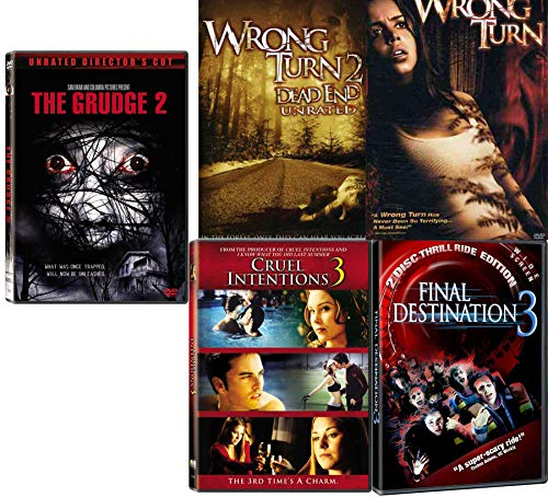 Trapped Thrills Unleashed 5 Movie Collection Grudge 2 / Cruel Intentions 3 / Final Destination 3 / Wrong Turn / Wrong Turn Dead End Unrated DVD Horror Sequels Pack