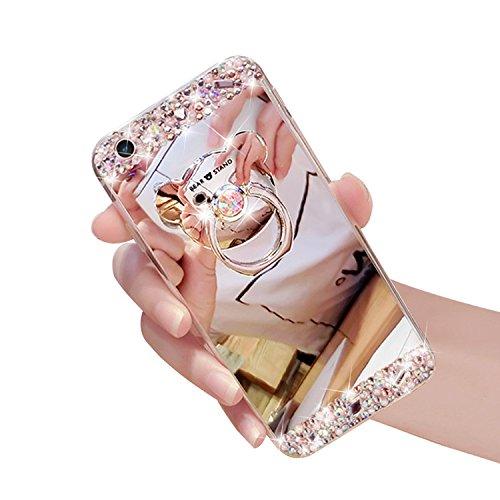 iPhone 8 Hülle,iPhone 7 Spiegel Hülle, Vandot Mirror Case Hülle für iPhone 8 / iPhone 7, TPU Handyhülle mit Handy Ständer Ring Holder Plating Silikon Schutzhülle Luxus Glänzend Glitzer Kristall Strass Spiegel-Bär Silber