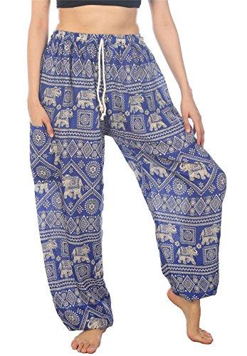 Lofbaz Mujer Elefantes Sello Cordón Harén Boho Pantalones Azul L