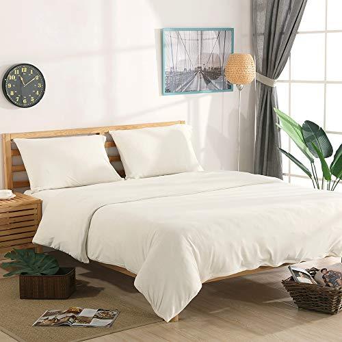 NTCOCO Jersey Knit Baumwolle Bettbezug Queen Home Bettwäsche 3-Teiliges Set, 1Tröster Bezug und 2Kopfkissen, Weich Bequemen King Weiß (Weiß Tröster Set King)