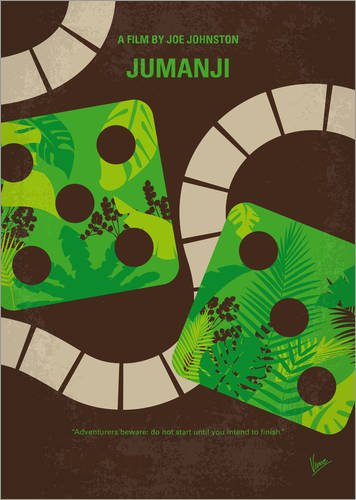 Holzbild 70 x 100 cm: Jumanji Minimal Movie Poster von chungkong (Dschungel-formel)