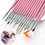 15pcs / lot Nail Art Brush Set Gel UV polonais Gradient Couleur Conseils 3D DIY Peinture Dessin Doublure Stylo (Color : Pink)
