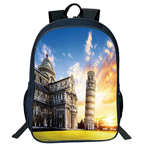 HOJJP Schultasche Stylish Unisex School Students Italy,Place Miracoli Complex The Leaning Tower Pisa in Front Tourist Attraction,Multicolor Kids,