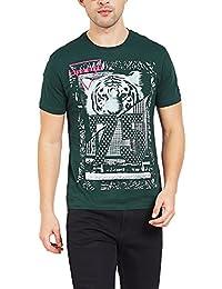 Maniac Men's Printed Half Sleeve Cotton Round Neck Tshirt