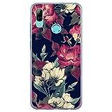 BJJ SHOP Étui Transparent pour [ Huawei P Smart 2019 ], Coque en Silicone Souple TPU, Design: Fleurs, Roses Rouges et Blanches