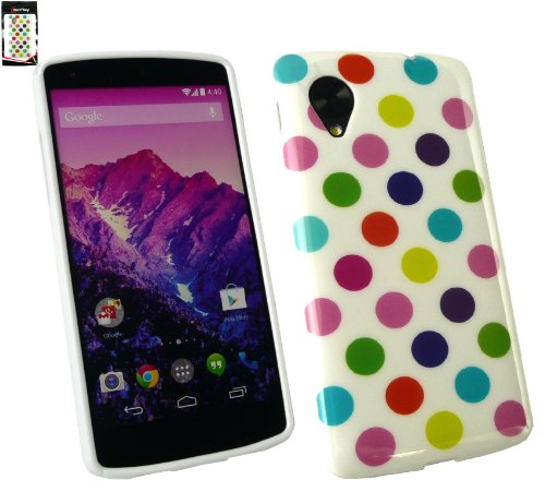 Emartbuy® Polka Dots Gel Skin Cover/Case Multi-Coloured For LG Google Nexus 5  available at amazon for Rs.149