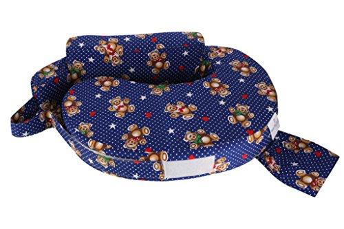 MomToBe Cotton Fabric Feeding/Nursing Pillow- HD Foam, Blue , Teddy Print