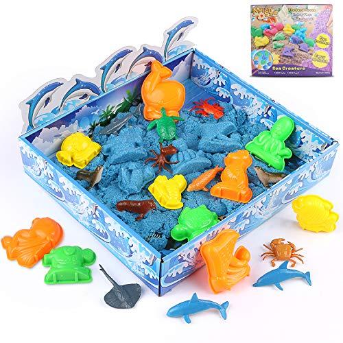 Xddias Magic Sand Playset - Play Sand Box Knetsand Set (500 g) - Super Magic Sand, Kinetischer Sand, Bastelsand mit 12 Meerestiere für Kinder