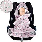 Baby Einschlagdecke Maxi cosi Decke, Babydecke für Babyschale, Fußsack für Kinderwagen - für Übergangszeit, Winter aus Minky/Baumwolle SWADDYL (Lama)