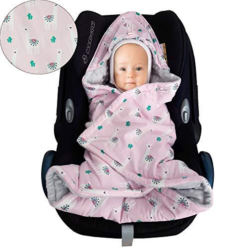 Baby Einschlagdecke Maxi cosi Decke, Babydecke für Babyschale, Fußsack für Kinderwagen - für Übergangszeit, Frühling, Sommer aus Minky/Baumwolle SWADDYL (Lama)