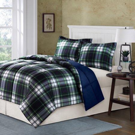 Komfort Classics Hartford Down Alternative Polyester Plaid Tröster Mini Set inkl. 1Kuscheldecke und 2King kissenrollen (3Stück in einer Tasche)–King/CAL King, Marineblau