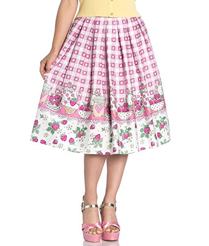 Hell Bunny Strawberry Shortcake Herz 50s Jahre Style Rand Rock - Rosa, UK 12 (M)