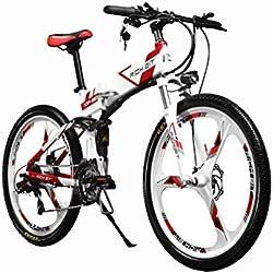 JIMAI RT-860 Mans Faltende Elektro-Bike, Mountain Hybrid MTB Fahrrad Fahrrad Radfahren Dual Suspension, 250 Watt 36V 21 Geschwindigkeiten, Mit Fuß Bike Air Pump, Ein Werkzeug-Set, einteiliges Montage-Tool und Smart Bike Computer weiß Rot