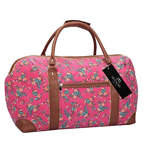 15 COLOURS Leinen Reisetasche - Wochenende übernachten Taschen - Mittlere Größe Urlaub Seesack - Ideal Damen Fitness Reisetasche - Handgepäck Handgepäck 50cm x 30 x 25, 35 Liter - QL216M Rosa Blume