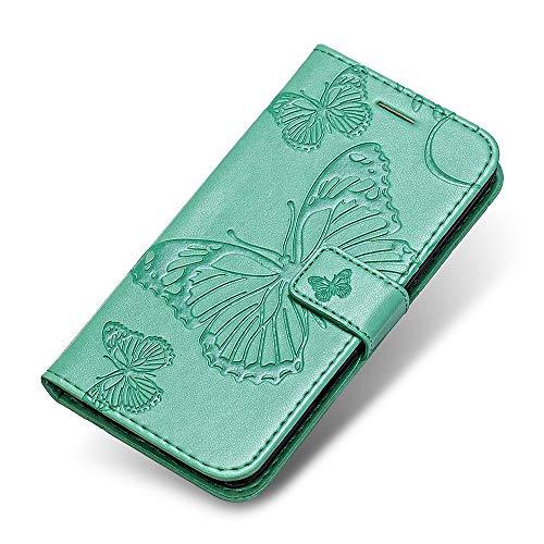 iPhone 6 6s Hülle, The Grafu PU Leder Handyhülle mit Stoßfest TPU, Schmetterling Muster [Standfunktion] [Kartenfach] Schutzhülle für Apple iPhone 6 / 6s, Grün