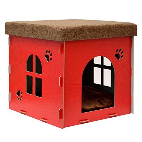Hunde Für Pet-kisten Kleine (eyepower stabile Katzenhöhle 38x38x38cm Sitzhocker Sitzwürfel inkl Katzenhaus Holz Kuschel Höhle fuer Hunde Katzen Rot)