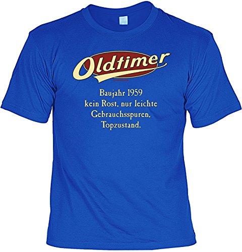 Spaß/Jahrgangs/Geburtstags-Shirt/Party-Shirt: Oldtimer Baujahr 1959 - kein Rost, nur leichte Gebrauchsspuren, Topzustand. Royalblau